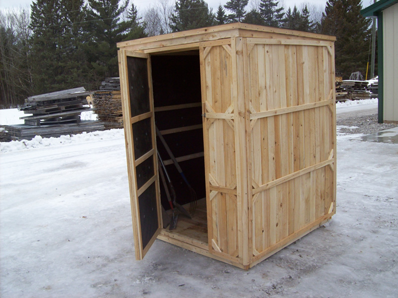 Small cedar wooden garden sheds for sale productive for Sloped roof shed