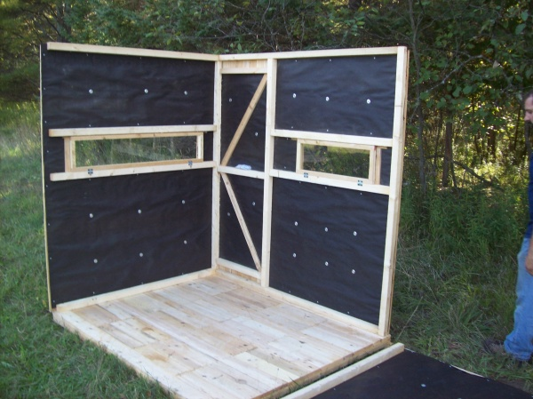 5x6 two person seater deer blind for Inside deer blind ideas
