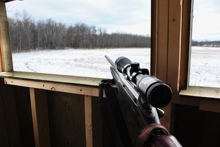 Hunter waiting in deer blind
